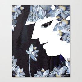 Portrait of a Woman Smelling Flowers Canvas Print