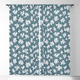 Blue and Living Coral Orange Blossom Pattern, from the Orange Blossom Pattern Collection Blackout Curtain