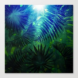 Blue Aloha - Morning Light abstract Tropical Palm Leaves and Monstera Leaf Garden Canvas Print