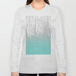 Modern tropical white palm tree silver glitter ombre on robbin egg blue turquoise Long Sleeve T-shirt