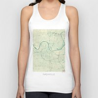nashville Tank Tops featuring Nashville Map Blue Vintage by City Art Posters