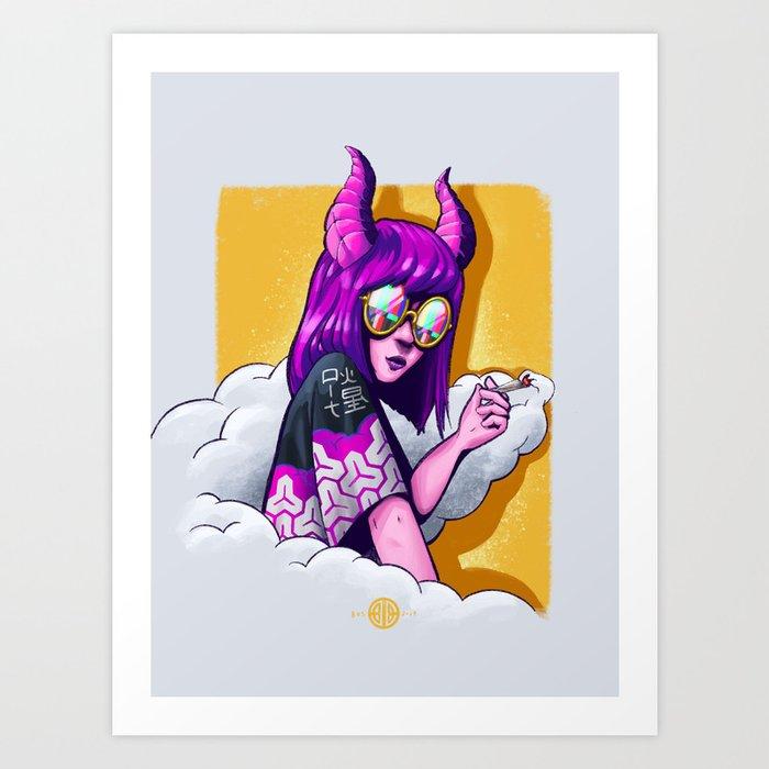 Demon Girl Smoke Weed Art Print By Benjaminbrito Society6