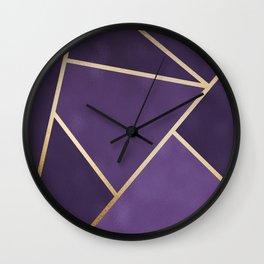 Beautiful Amethyst Gold Geometry Art Wall Clock