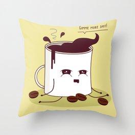 Coffee Mug Addicted To Coffee Throw Pillow