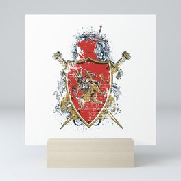 Griffin Shield - Swords - Coat of Arms Mini Art Print