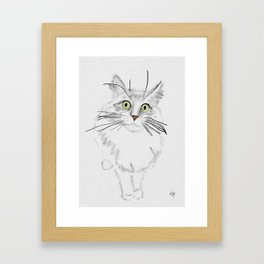Green Eyed Greedy Cat Framed Art Print