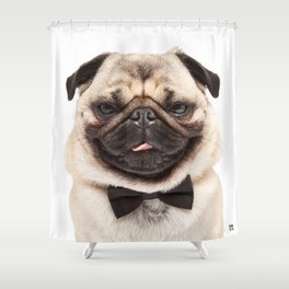 Helmut the Pug - Bow Tie Shower Curtain