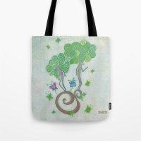 surrealism Tote Bags featuring Tree Surrealism by Design SNS - Sinais Velasco