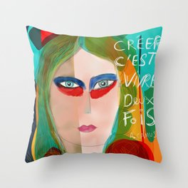 Pop Girl Albert Camus Words Throw Pillow