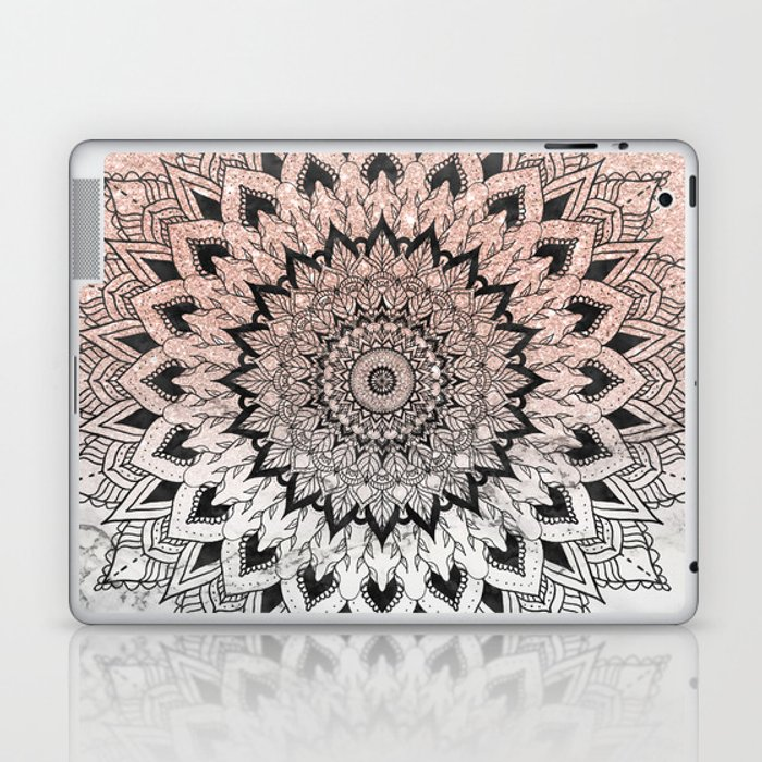 Boho Black Watercolor Floral Mandala Rose Gold Glitter Ombre White Marble Laptop Ipad Skin By Girlytrend Society6