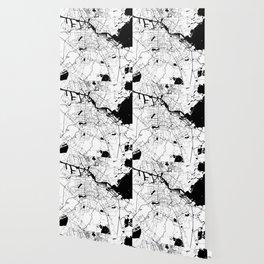 Amsterdam White on Black Street Map Wallpaper