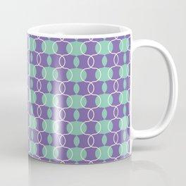 Eggplant Retro Geometric Pattern in Purple, Green & Cream Coffee Mug