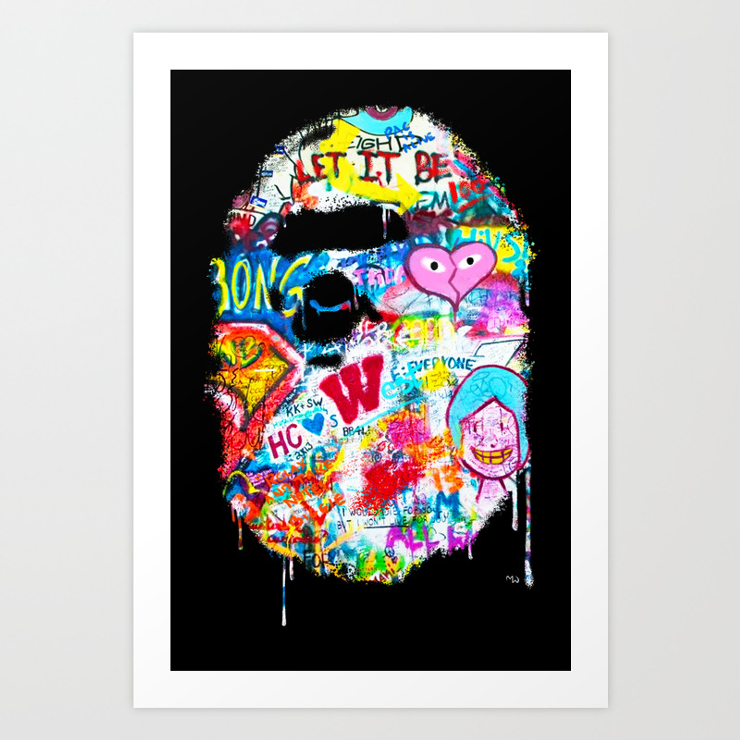 Graffiti hypebeast bape illustration art print
