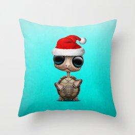 Christmas Turtle Wearing a Santa Hat Throw Pillow