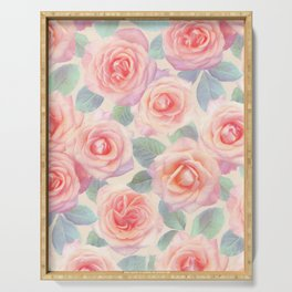 Opal Pink and Peach Painted Roses Serving Tray