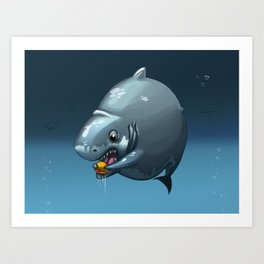 Burger Shark Art Print