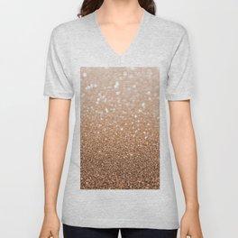 Copper Shiny Powder Texure Unisex V-Neck