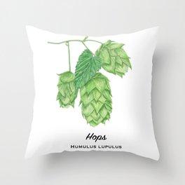 Beer Hops Botanical Painting Throw Pillow