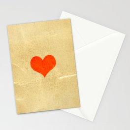 Red heart shape on a texture of old yellowed and cracked paper Stationery Cards