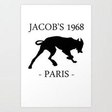 Black Dog II Contour White Jacob's 1968 fashion Paris Art Print
