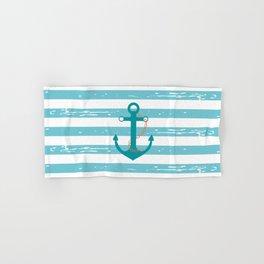 AFE Nautical Teal Ship Anchor Hand & Bath Towel