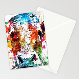 Cow Watercolor Grunge Stationery Cards
