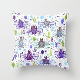 Inky Beetles Throw Pillow