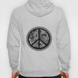 Zen Doodle Peace Symbol Black And White Hoody