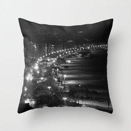 Copacabana beach at night Throw Pillow