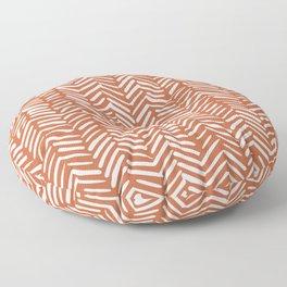 Boho, Abstract, Herringbone, Pattern, Terracotta Floor Pillow