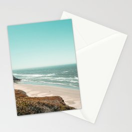 Beach Horizon | Teal Color Sky Ocean Water Waves Coastal Landscape Photograph Stationery Cards