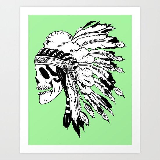 Black and White Native American  Art Print