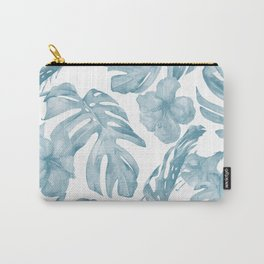 Gorgeous Blue Tropical Leaves + Flowers Carry-All Pouch