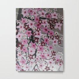 vertical portrait format sakura cherry blossom pink japanese painting paintings art zen asian Metal Print