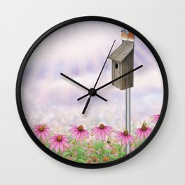eastern bluebirds, echinacea, and bumble bees Wall Clock