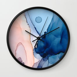 Saphire soft abstract watercolor fluid ink painting Wall Clock