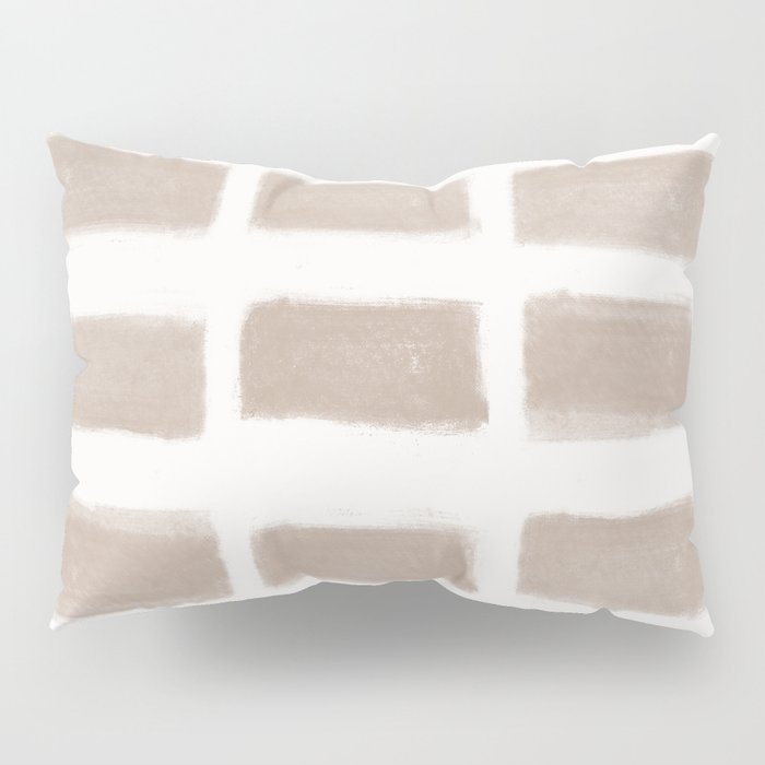 Brush Strokes Horizontal Lines Nude on Off White Pillow Sham