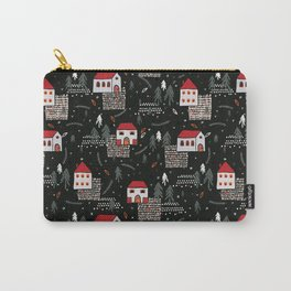 Christmas Village Church House Vector Pattern Carry-All Pouch