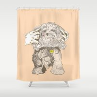 dexter Shower Curtains featuring Dexter Charlie by Stacy Nguyen
