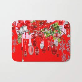 RED WINTER SNOWFLAKES & CHRISTMAS DECORATIONS ART Bath Mat