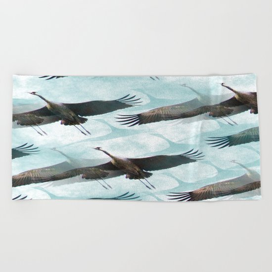 Abstract Whooping Cranes  Beach Towel