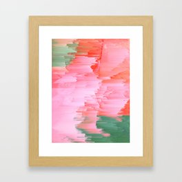 Romance Glitch - Pink & Living coral Framed Art Print