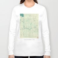 oklahoma Long Sleeve T-shirts featuring Oklahoma City Map Blue Vintage by City Art Posters