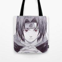 sasuke Tote Bags featuring Sasuke Uchiha by DeMoose Art