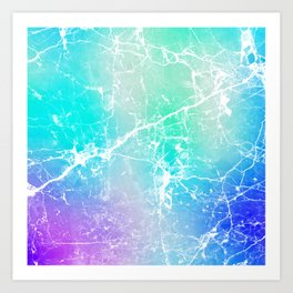 Modern turquoise purple watercolor abstract marble Art Print