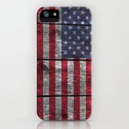 """Old Glory""  ""The Star Spangled Banner"" on wood iPhone Case"
