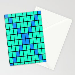 Aqua and Blue Grid Stationery Cards