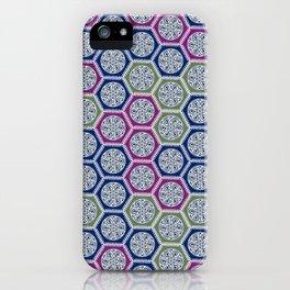 Hexagonal Dreams - Purple Blue Green iPhone Case
