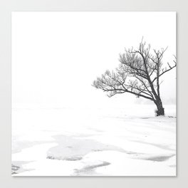 Lonely Tree on Frozen Lake Canvas Print