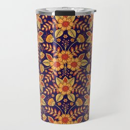 Vibrant Blue, Yellow & Orange Floral Pattern Travel Mug